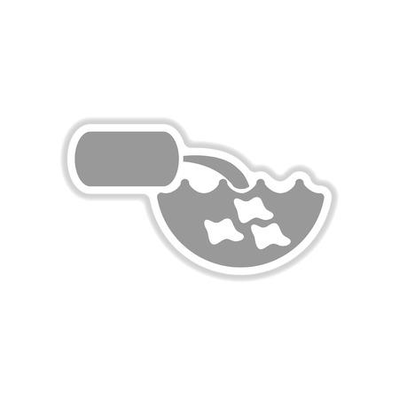 paper sticker on white background water pollution