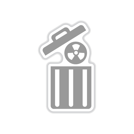uranium: paper sticker on white background radioactive waste