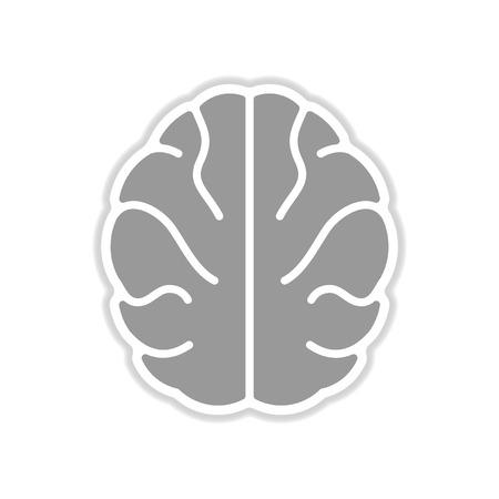 paper sticker on white background human brain Vectores