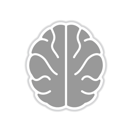 paper sticker on white background human brain Imagens - 85075440