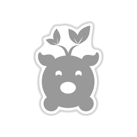 paper sticker on white background  eco pig