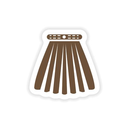 白地のスカートにスタイリッシュな紙ステッカー  イラスト・ベクター素材
