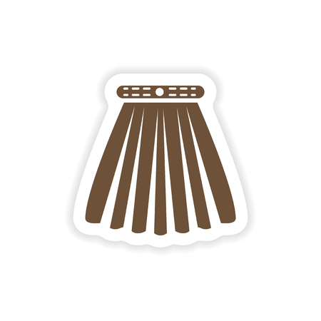 stylish paper sticker on white background skirt Иллюстрация