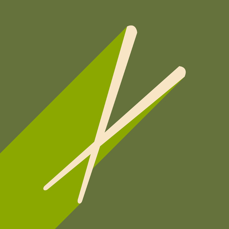 Flat with shadow icon and mobile application Sticks for sushi Illustration