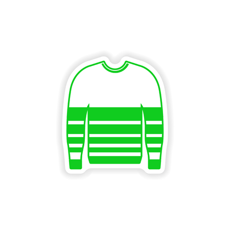 stylish paper sticker on white background sweater
