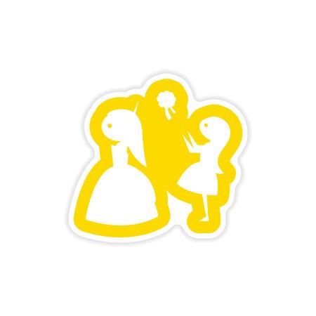 A paper sticker on white background bride throws bouquet. Illustration