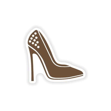 Stylish paper sticker on white background shoes.