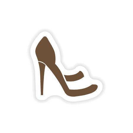 stylish paper sticker on white background shoes Çizim