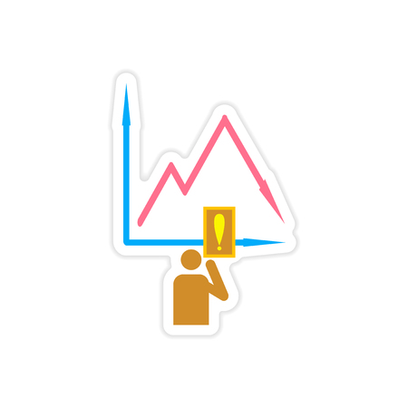stylish sticker on paper falling graph and people