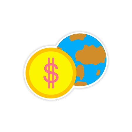 stylish sticker on paper Globe and money