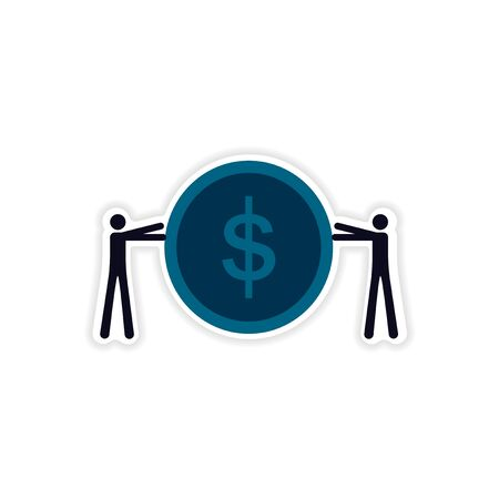 stylish sticker on paper People and coins Illustration