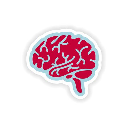 paper sticker on white background human brain Illustration