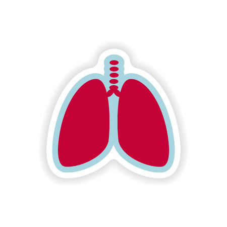 paper sticker on white background human lungs Illustration
