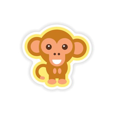 paper sticker on white background little monkey