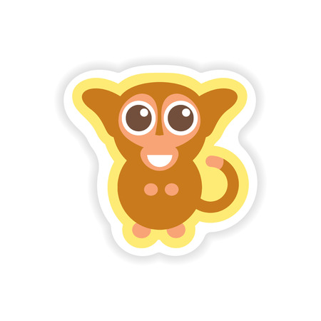 paper sticker on white background little monkey