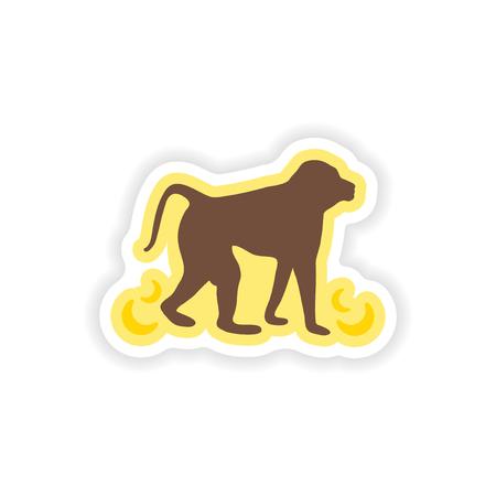 paper sticker on white background monkey with bananas Illustration