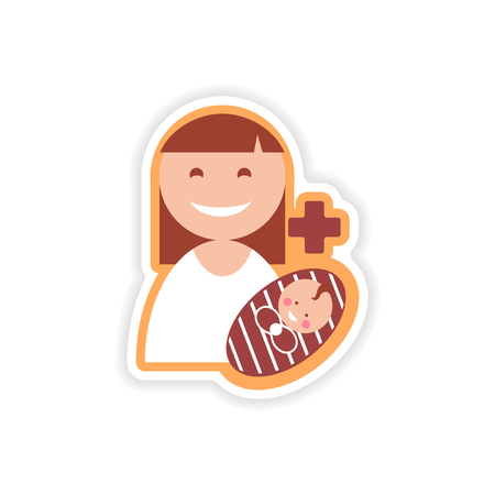 paper sticker mother and daughter on white background