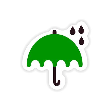 paper sticker British umbrella on white background