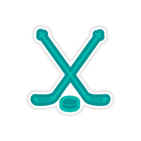 paper sticker hockey sticks and puck on white background