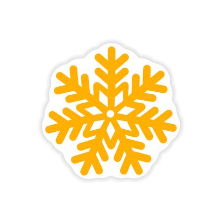paper sticker on white background Christmas snowflake Illustration