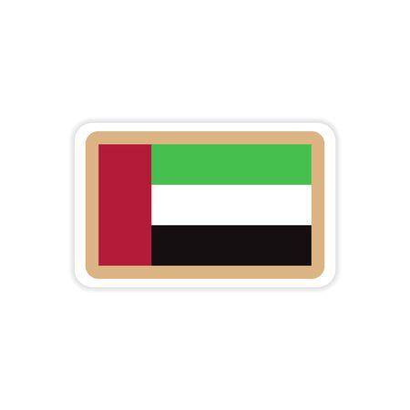 A stylish paper sticker on white background Emirates flag. Illustration