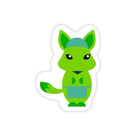 stylish paper sticker on white background fox masseur Illustration