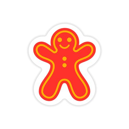 paper sticker on white background Christmas cake Illustration