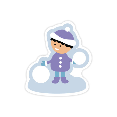 paper sticker on white background boy playing snowballs Illustration