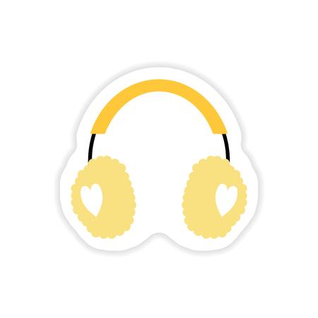 paper sticker on white background earmuffs hearts