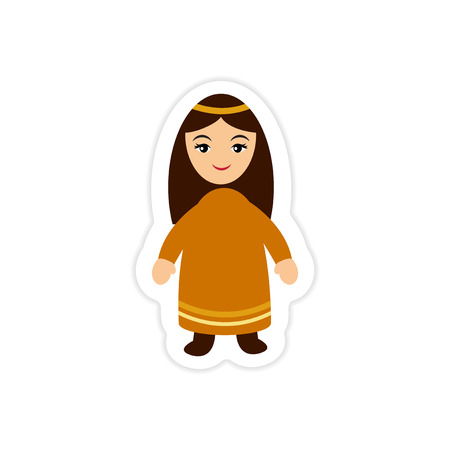 paper sticker on white background virgin Mary Ilustrace