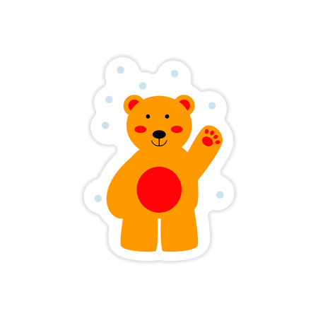 A paper sticker on white background northern bear.