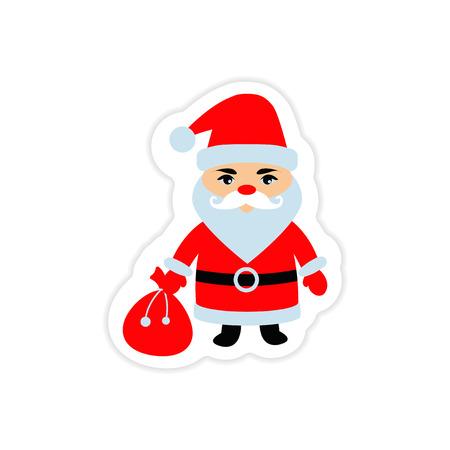 A paper sticker on white background Santa Claus. Illustration