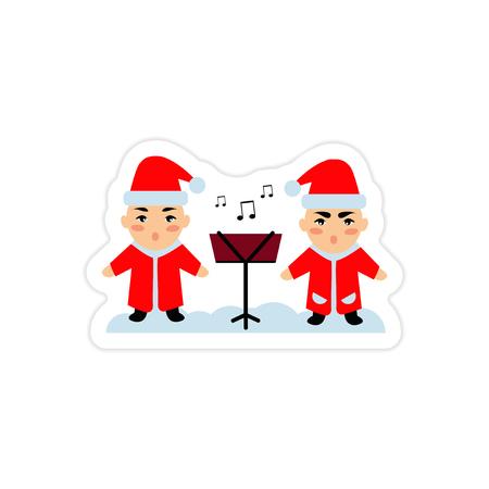 carols: A paper sticker on white background children sing carols. Illustration