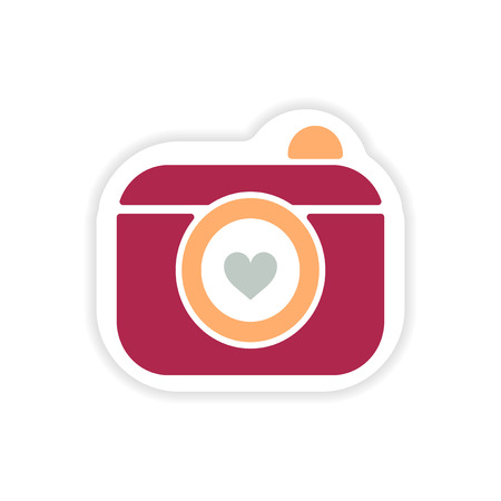 paper sticker on white background wedding camera