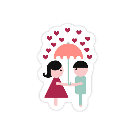 paper sticker on white background boy girl umbrella