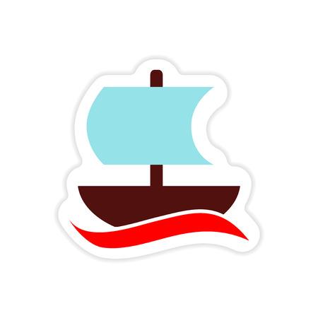 paper sticker on white background Greek ship