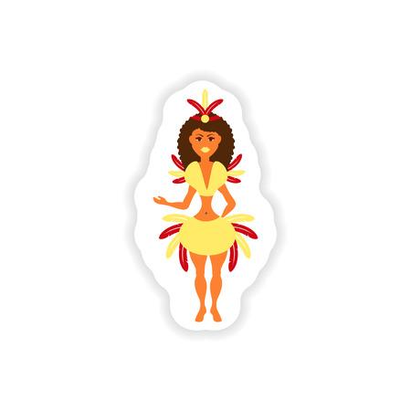 stylish paper sticker on white background Brazilian dancer