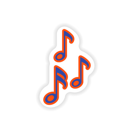 stylish paper sticker on white background musical notes