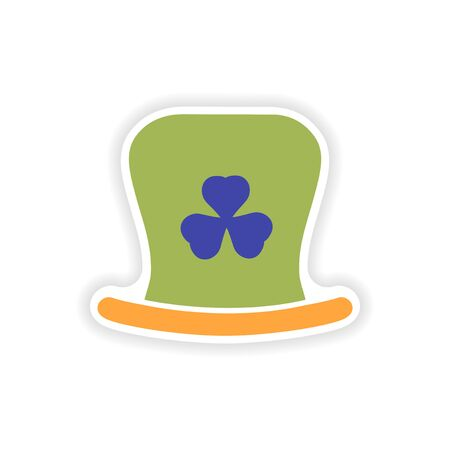 stylish paper sticker on white background Irish hat