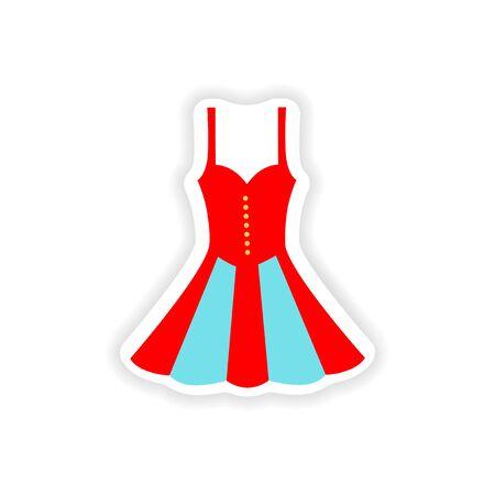 Concept stylish paper sticker on white background dress Illustration