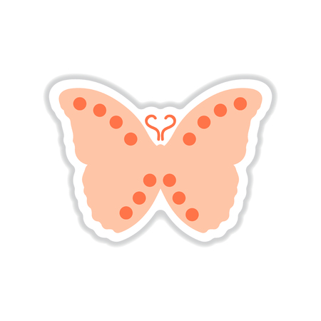 antennas: Paper sticker on white background flying butterflies