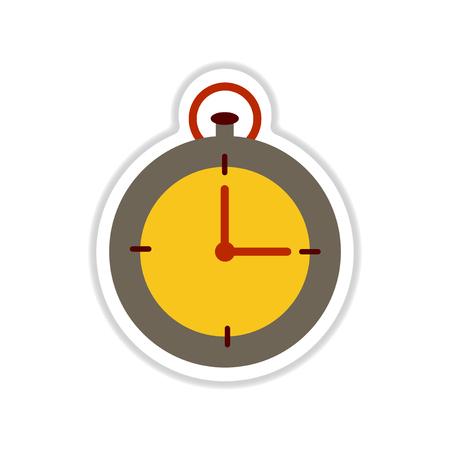 Paper sticker on white background clock icon