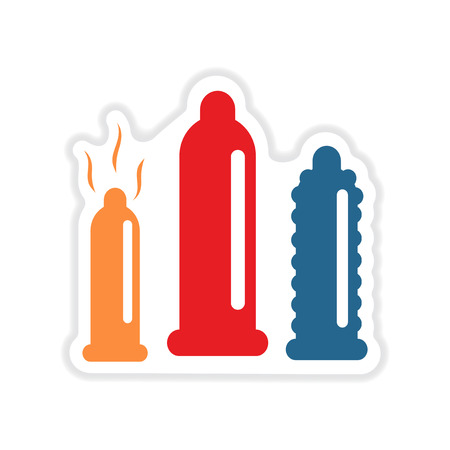 Paper sticker on white background types of condoms Illustration