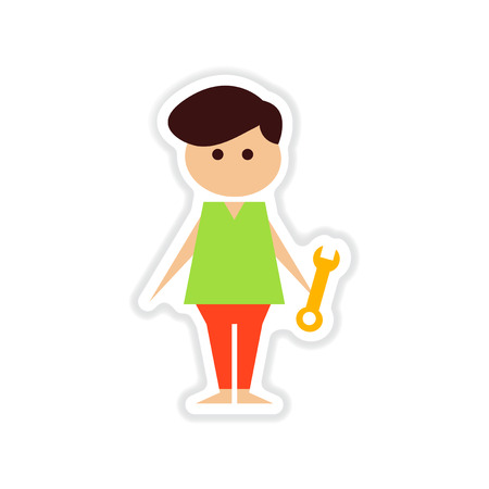 Paper sticker on white background male plumber Ilustrace