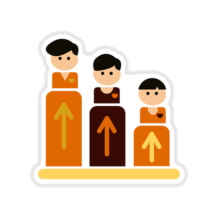 Paper sticker on white background business graph with people and arrows