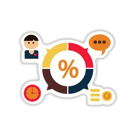Paper sticker on white background business chart
