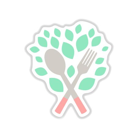 Paper sticker on white background eco cutlery
