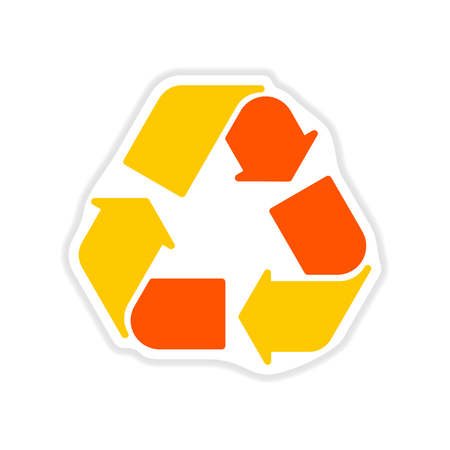 Paper sticker on white background arrows recycling