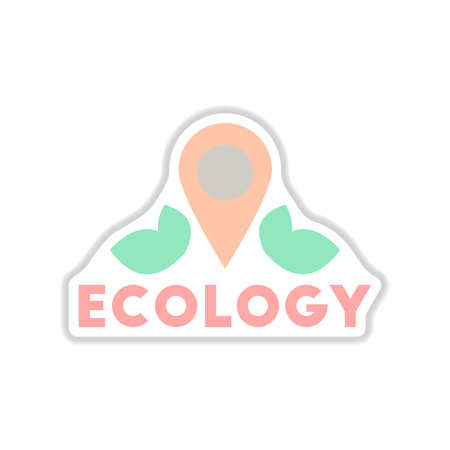 Paper sticker on white background eco location symbol