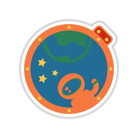 Paper sticker on white background earth spaceman and stars